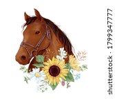 Horse Portrait In Digital...