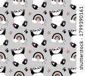 seamless simple panda bear... | Shutterstock .eps vector #1799390161