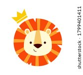 cute lion with crown icon on... | Shutterstock . vector #1799401411