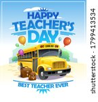 happy teacher's day card with... | Shutterstock .eps vector #1799413534