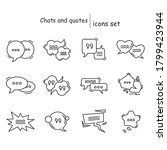 chats and quotes icons set....