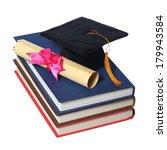 black graduation cap with... | Shutterstock . vector #179943584
