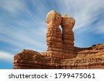 The Navajo Twins, twin rocks geologic formation in the historic pioneer towwn of Bluff, Utah