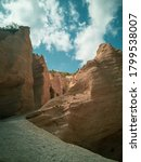 Small photo of Italy, August 2020 - Panoramic view of the canyon of the Lame Rosse near the Fiastra lake in the Marche region