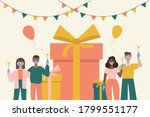 people celebrate a birthday in... | Shutterstock .eps vector #1799551177