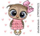 Cute Cartoon Owl on a hearts background
