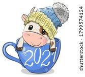 cute cartoon bull is sitting in ... | Shutterstock .eps vector #1799574124