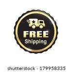 golden free shipping badge | Shutterstock .eps vector #179958335