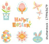 fun graphic easter set in pink  ... | Shutterstock .eps vector #179965679