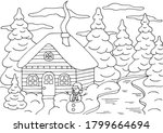horizontal coloring page with a ... | Shutterstock .eps vector #1799664694