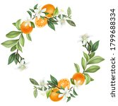 Wreath Of Hand Drawn Blooming...