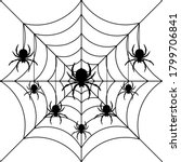 black spiders hanging on a web. ... | Shutterstock .eps vector #1799706841