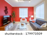 modern red living room interior ... | Shutterstock . vector #179973509
