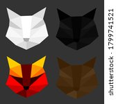 set of cat polygon geometric.... | Shutterstock .eps vector #1799741521