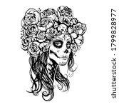 sugar skull beautiful girl ... | Shutterstock .eps vector #1799828977