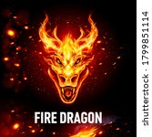 fire dragon head in flame on... | Shutterstock .eps vector #1799851114