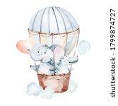 Cute Dreaming Cartoon Rabbit...