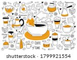 coffee time doodle set....   Shutterstock .eps vector #1799921554