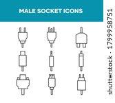 male socket icon set ...