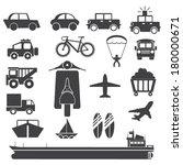 transportation icon set on... | Shutterstock .eps vector #180000671