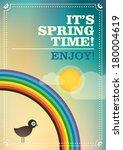 Spring retro poster. Vector illustration. - stock vector