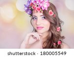 beautiful smiling girl with... | Shutterstock . vector #180005549