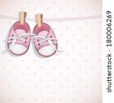 baby girl shower card. arrival... | Shutterstock .eps vector #180006269