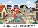 cartoon kids playing various... | Shutterstock .eps vector #1800086917