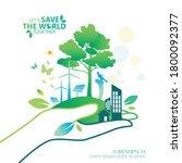 ecology.green cities help the... | Shutterstock .eps vector #1800092377
