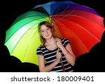 portrait of a smiling girl with ... | Shutterstock . vector #180009401