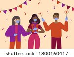 people celebrate a birthday in... | Shutterstock .eps vector #1800160417