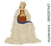 praying virgin mary. seated...