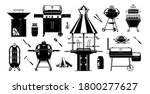Grill Bbq Sihouette Set....