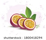 passion fruit slices vector... | Shutterstock .eps vector #1800418294