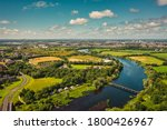 Small photo of Aerial view over River Shannon, located between County Limerick and Clare. Irish landscape in summer.