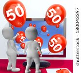number 50 balloons from monitor ... | Shutterstock . vector #180043397