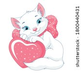 cute white cat with heart.... | Shutterstock .eps vector #1800440431