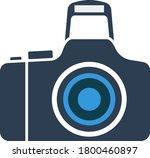 photo camera icon. flat color...