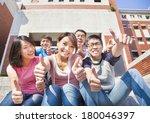 happy students thumbs up ... | Shutterstock . vector #180046397
