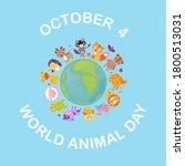 world animal day on october 4.... | Shutterstock .eps vector #1800513031
