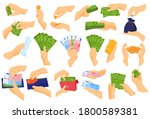 Hand Holding Money Vector...