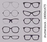vector set of glasses... | Shutterstock .eps vector #180061475