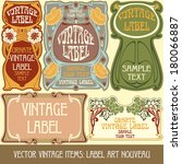 vector vintage items  label art ... | Shutterstock .eps vector #180066887
