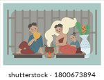 illustration of ancient thai...   Shutterstock .eps vector #1800673894