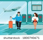 social distance in public place.... | Shutterstock .eps vector #1800740671