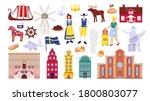 sweden symbols set with...   Shutterstock .eps vector #1800803077