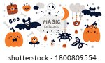 halloween sticker collection ... | Shutterstock .eps vector #1800809554