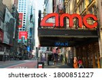 Small photo of Times Sq,NYC, NY, USA. August 21, 2020.AMC Theatres 42nd Street. AMC is an American movie theater chain headquartered in Leawood, Kansas, and the largest movie theater chain in the world.