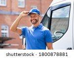 Smiling delivery men or...