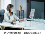 employee in office social... | Shutterstock . vector #1800888184